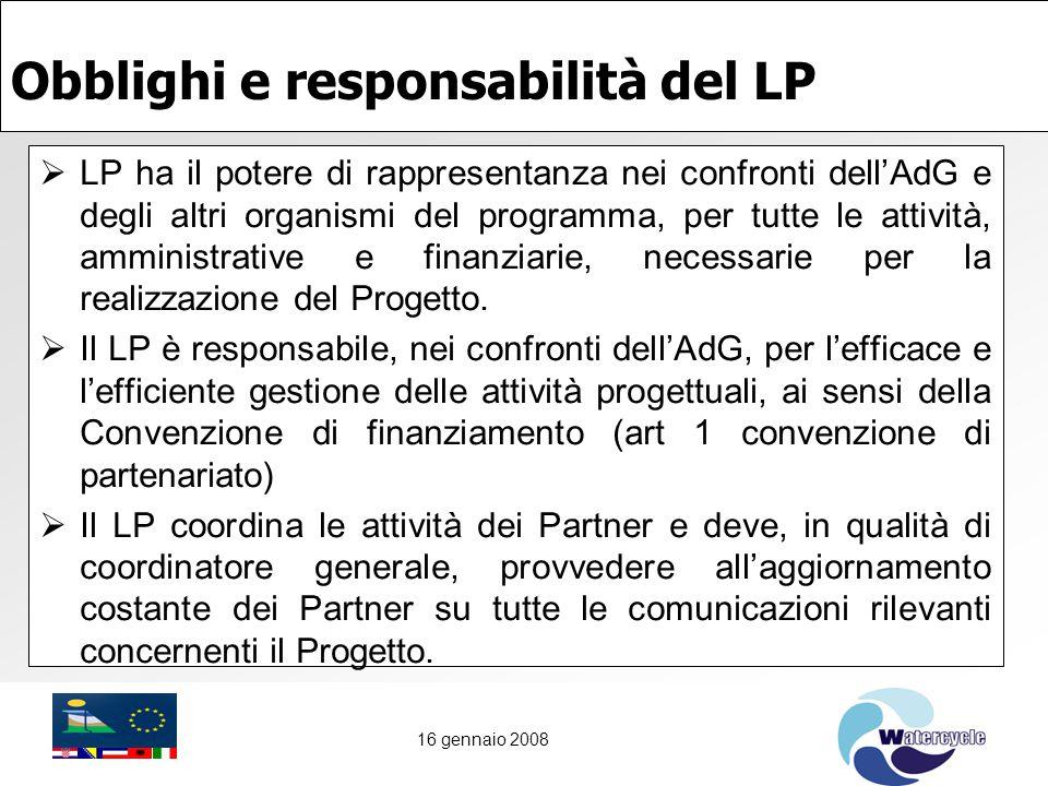 16 gennaio 2008 Obblighi e responsabilità del LP  LP ha il potere di rappresentanza nei confronti dell'AdG e degli altri organismi del programma, per tutte le attività, amministrative e finanziarie, necessarie per la realizzazione del Progetto.
