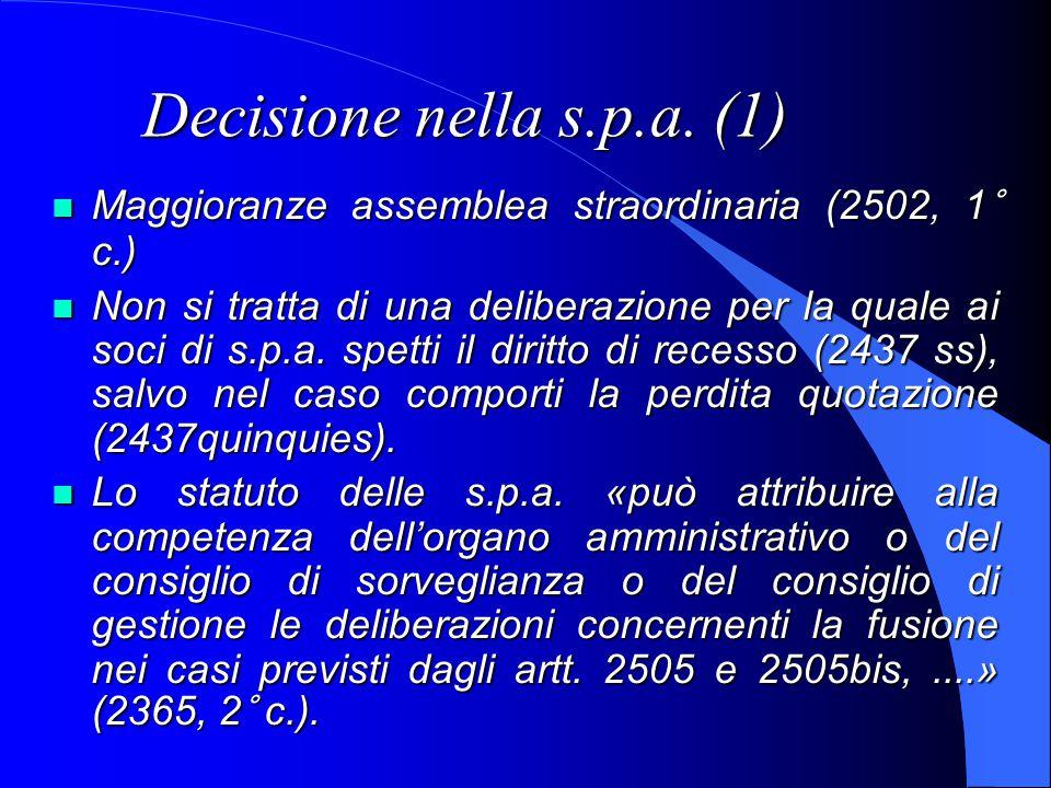 Decisione nella s.p.a.