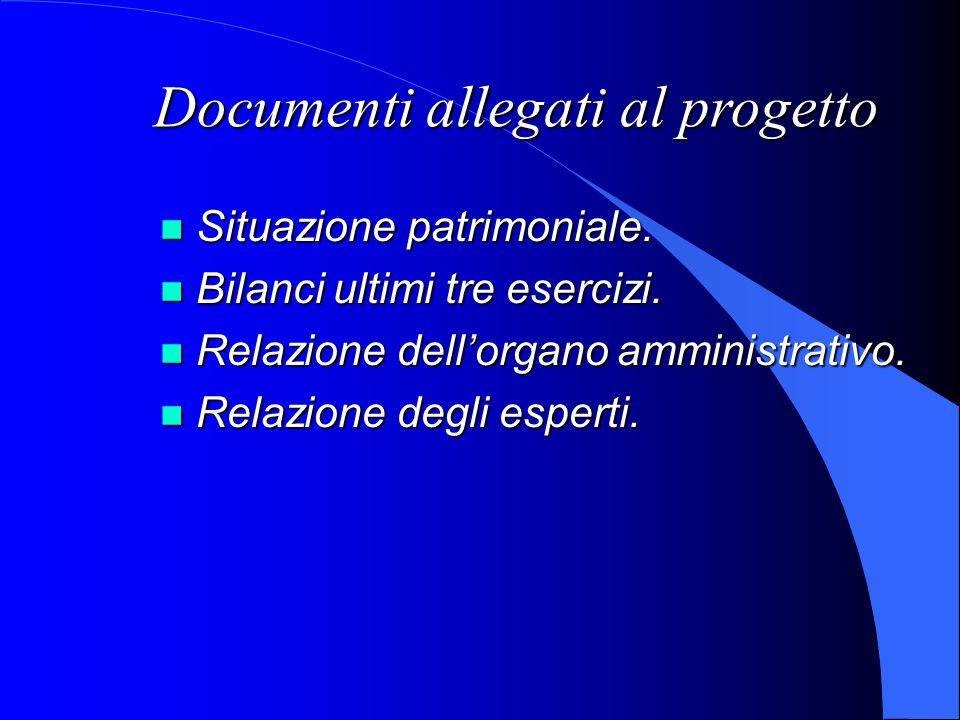 Documenti allegati al progetto Situazione patrimoniale.
