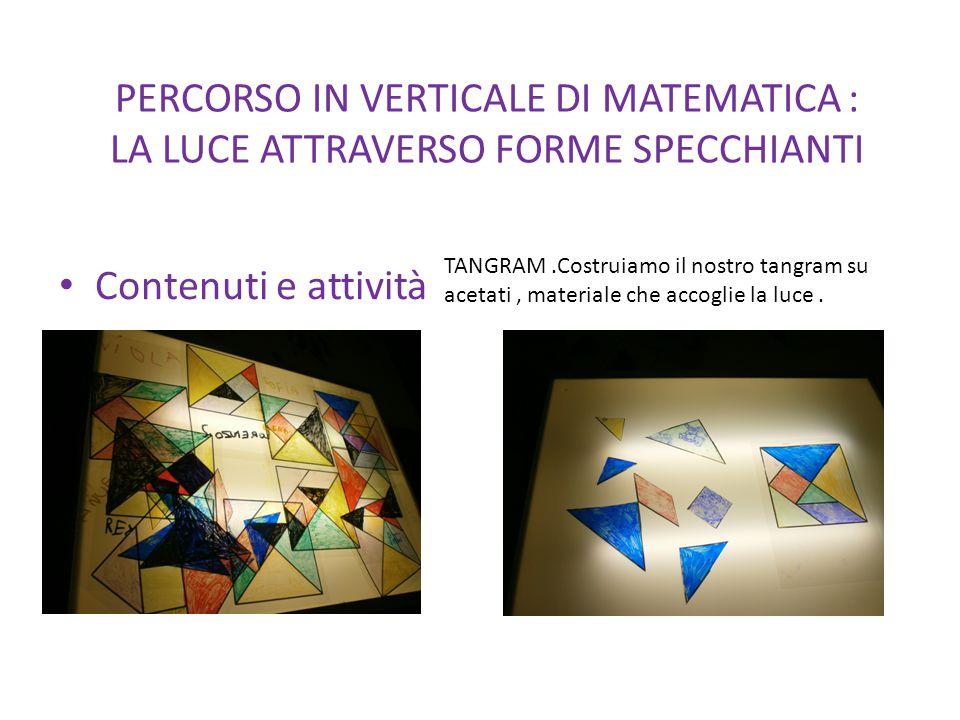 PERCORSO IN VERTICALE DI MATEMATICA : LA LUCE ATTRAVERSO FORME SPECCHIANTI Contenuti e attività TANGRAM.Costruiamo il nostro tangram su acetati, mater