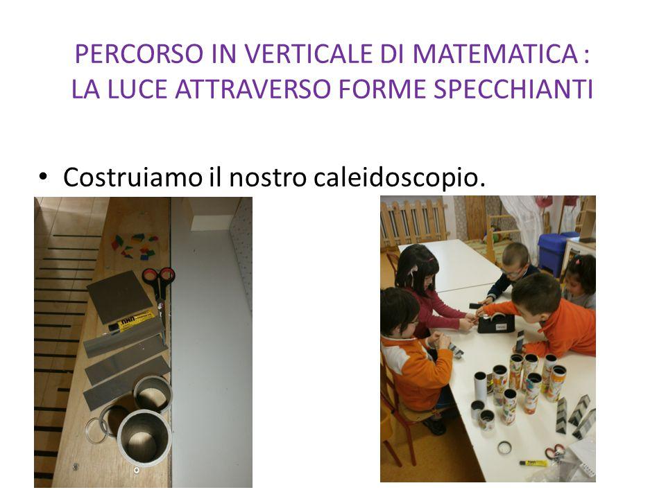 PERCORSO IN VERTICALE DI MATEMATICA : LA LUCE ATTRAVERSO FORME SPECCHIANTI Costruiamo il nostro caleidoscopio.