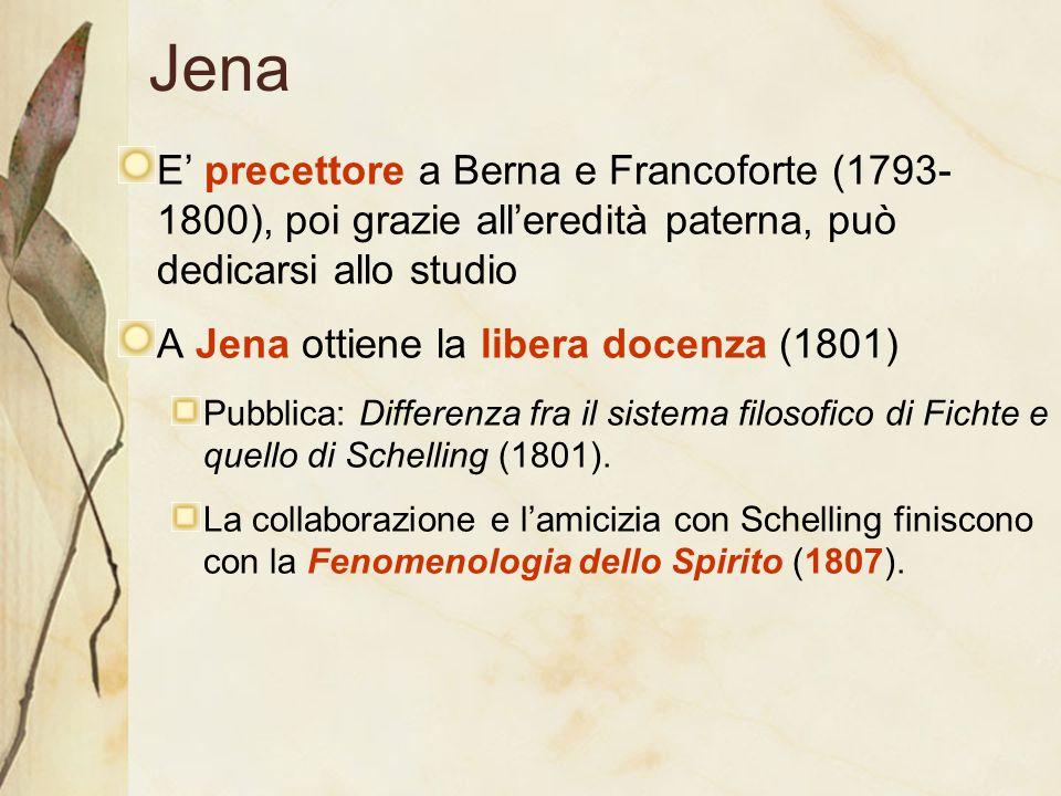Jena E' precettore a Berna e Francoforte (1793- 1800), poi grazie all'eredità paterna, può dedicarsi allo studio A Jena ottiene la libera docenza (180
