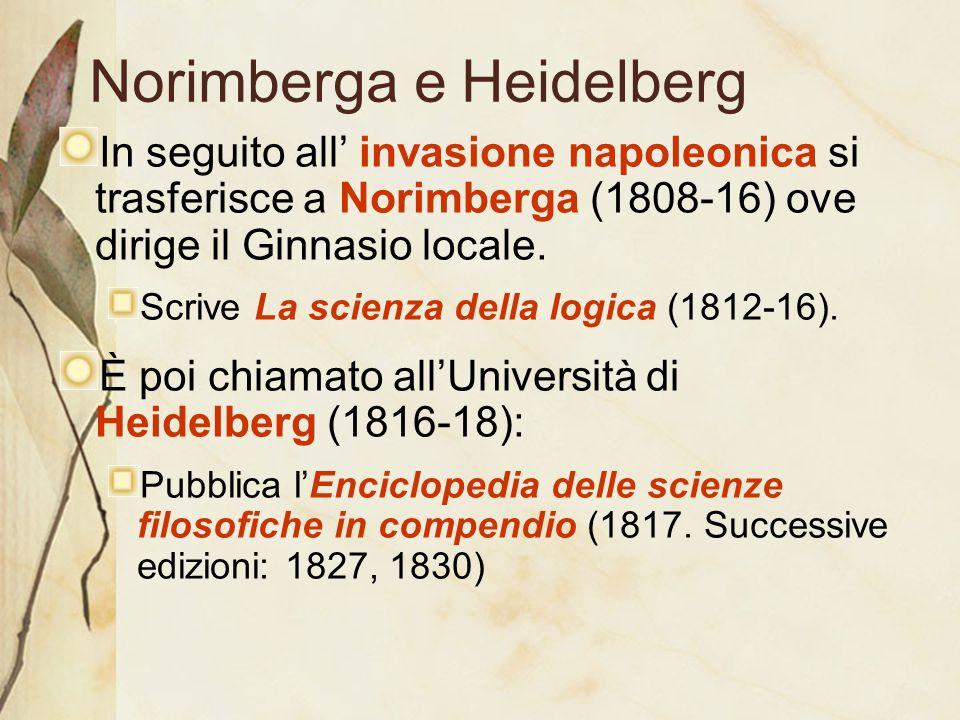 Norimberga e Heidelberg In seguito all' invasione napoleonica si trasferisce a Norimberga (1808-16) ove dirige il Ginnasio locale. Scrive La scienza d