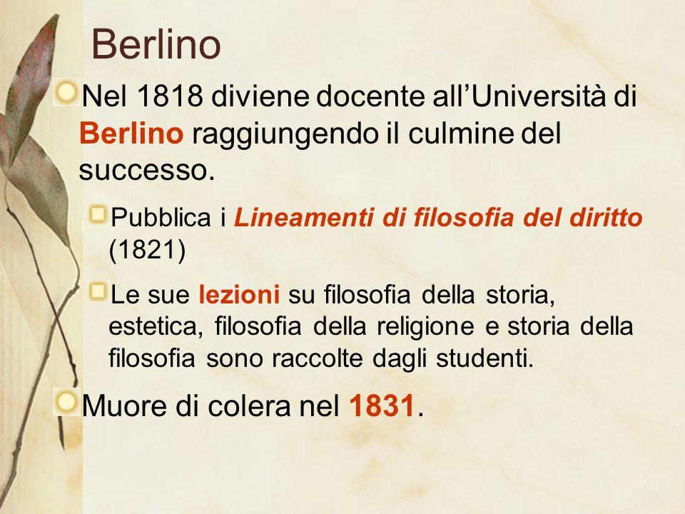 Berlino Nel 1818 diviene docente all'Università di Berlino raggiungendo il culmine del successo. Pubblica i Lineamenti di filosofia del diritto (1821)