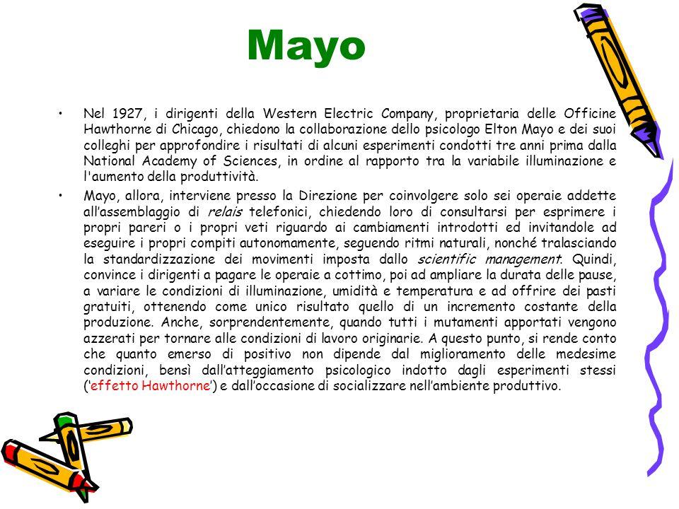 Mayo Nel 1927, i dirigenti della Western Electric Company, proprietaria delle Officine Hawthorne di Chicago, chiedono la collaborazione dello psicolog