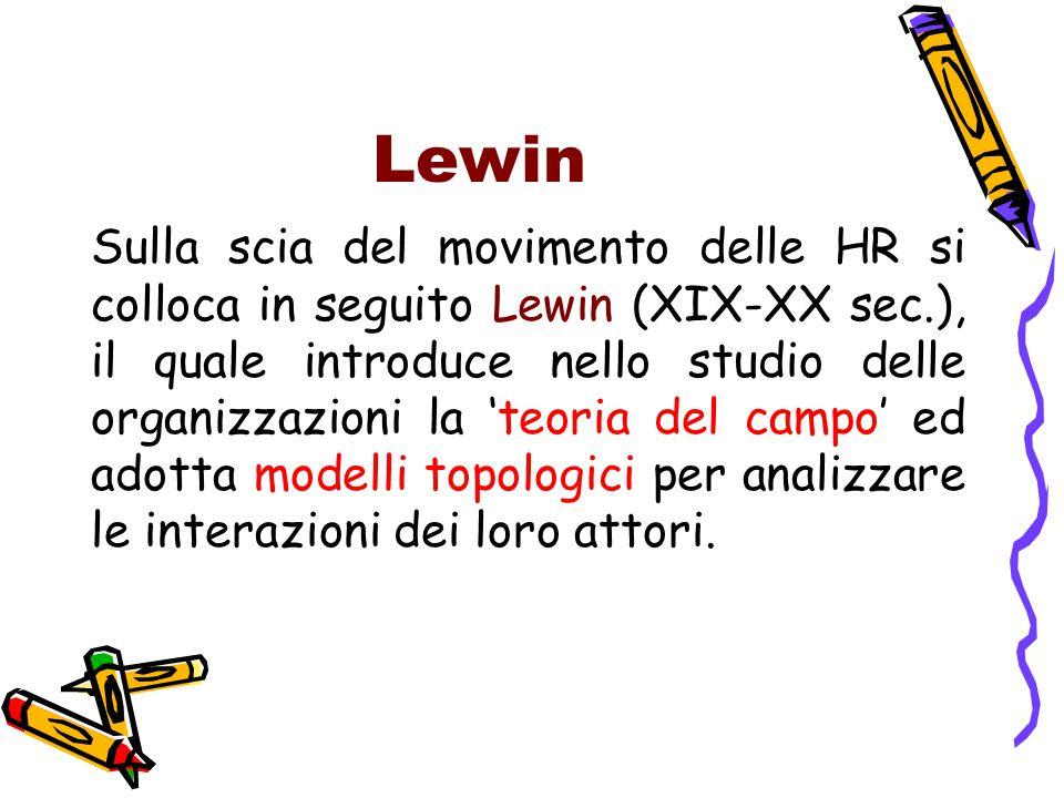 Lewin Sulla scia del movimento delle HR si colloca in seguito Lewin (XIX-XX sec.), il quale introduce nello studio delle organizzazioni la 'teoria del