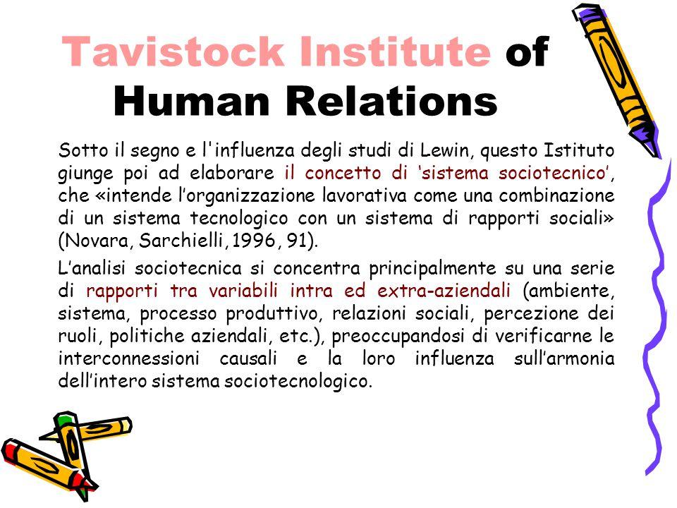 Tavistock Institute of Human Relations Sotto il segno e l'influenza degli studi di Lewin, questo Istituto giunge poi ad elaborare il concetto di 'sist
