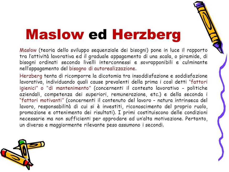 Maslow ed Herzberg Maslow (teoria dello sviluppo sequenziale dei bisogni) pone in luce il rapporto tra l'attività lavorativa ed il graduale appagament