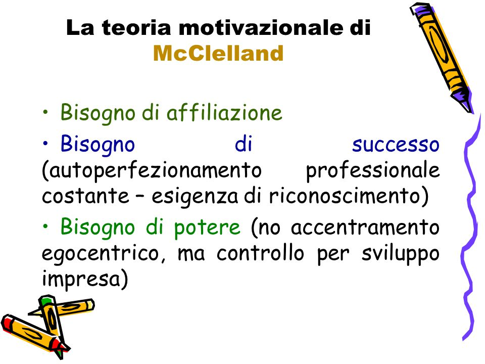 La teoria motivazionale di McClelland Bisogno di affiliazione Bisogno di successo (autoperfezionamento professionale costante – esigenza di riconoscim