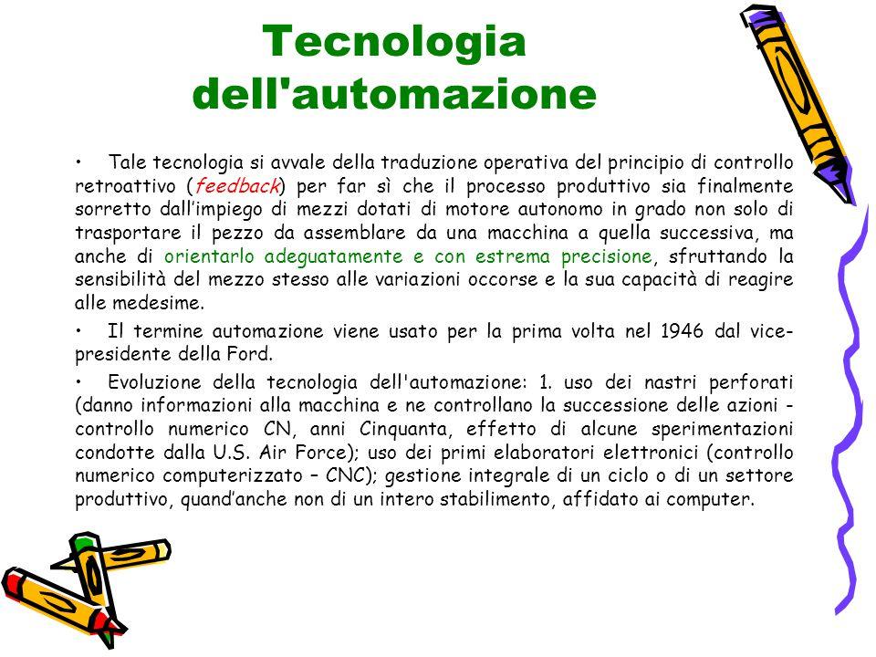 Tecnologia dell'automazione Tale tecnologia si avvale della traduzione operativa del principio di controllo retroattivo (feedback) per far sì che il p