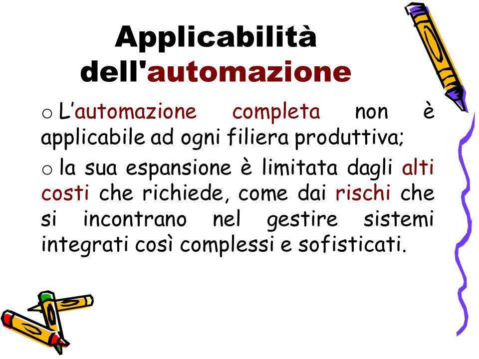 Applicabilità dell'automazione o L'automazione completa non è applicabile ad ogni filiera produttiva; o la sua espansione è limitata dagli alti costi