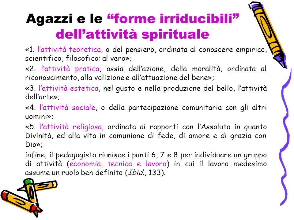 """Agazzi e le """"forme irriducibili"""" dell'attività spirituale «1. l'attività teoretica, o del pensiero, ordinata al conoscere empirico, scientifico, filos"""
