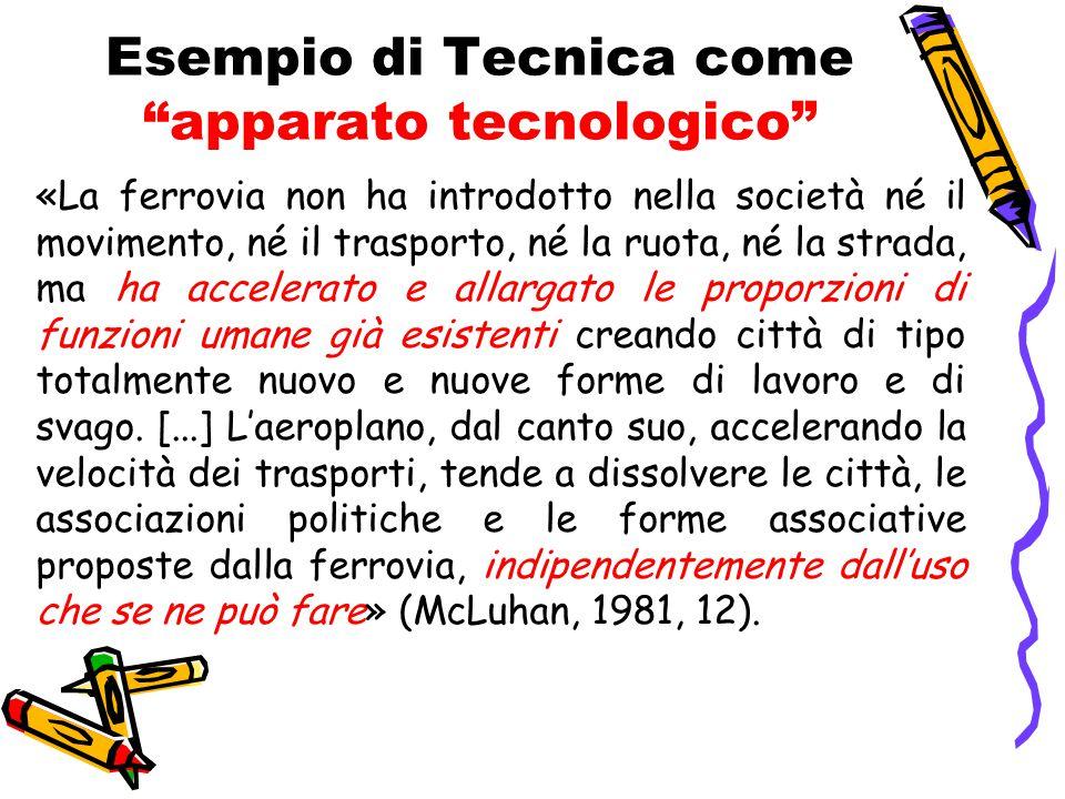 """Esempio di Tecnica come """"apparato tecnologico"""" «La ferrovia non ha introdotto nella società né il movimento, né il trasporto, né la ruota, né la strad"""