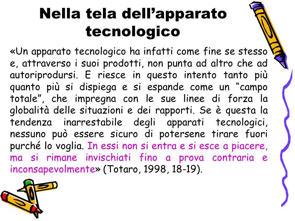 Nella tela dell'apparato tecnologico «Un apparato tecnologico ha infatti come fine se stesso e, attraverso i suoi prodotti, non punta ad altro che ad