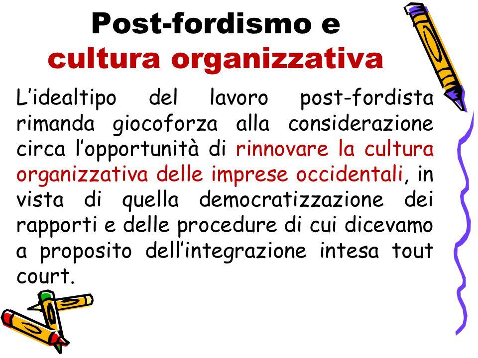 Post-fordismo e cultura organizzativa L'idealtipo del lavoro post-fordista rimanda giocoforza alla considerazione circa l'opportunità di rinnovare la
