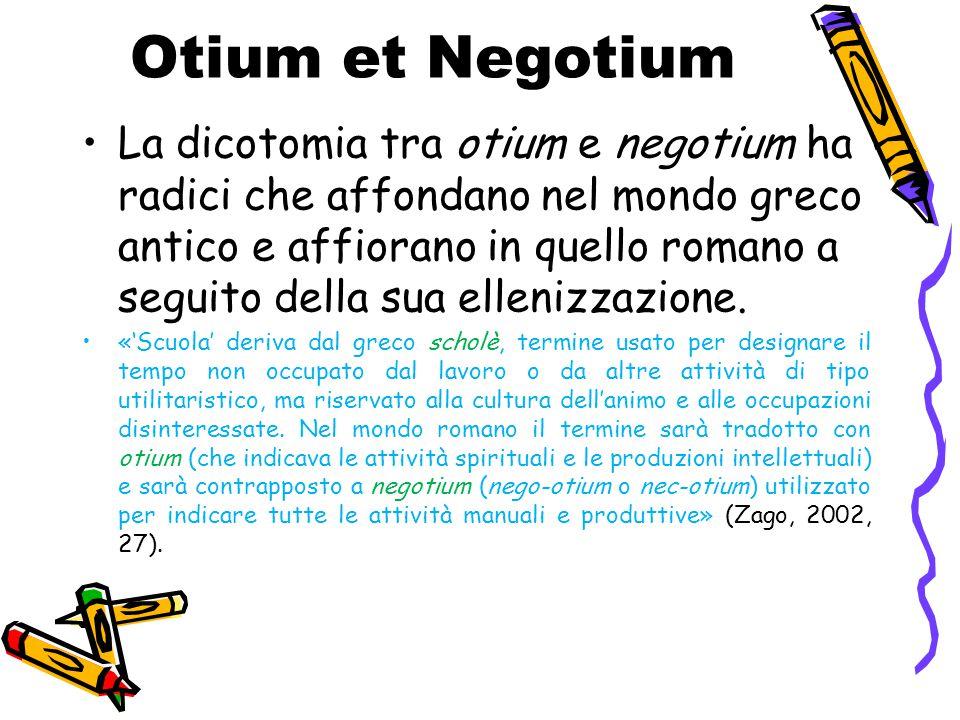 Otium et Negotium La dicotomia tra otium e negotium ha radici che affondano nel mondo greco antico e affiorano in quello romano a seguito della sua el