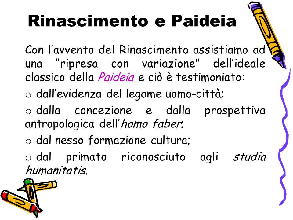 """Rinascimento e Paideia Con l'avvento del Rinascimento assistiamo ad una """"ripresa con variazione"""" dell'ideale classico della Paideia e ciò è testimonia"""