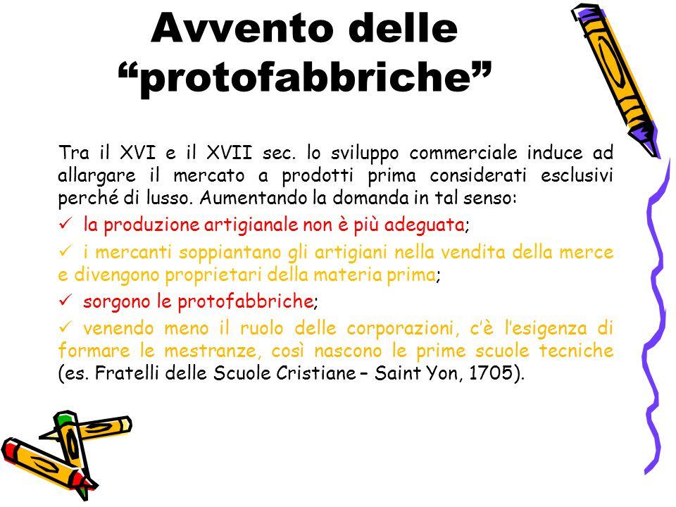 """Avvento delle """"protofabbriche"""" Tra il XVI e il XVII sec. lo sviluppo commerciale induce ad allargare il mercato a prodotti prima considerati esclusivi"""