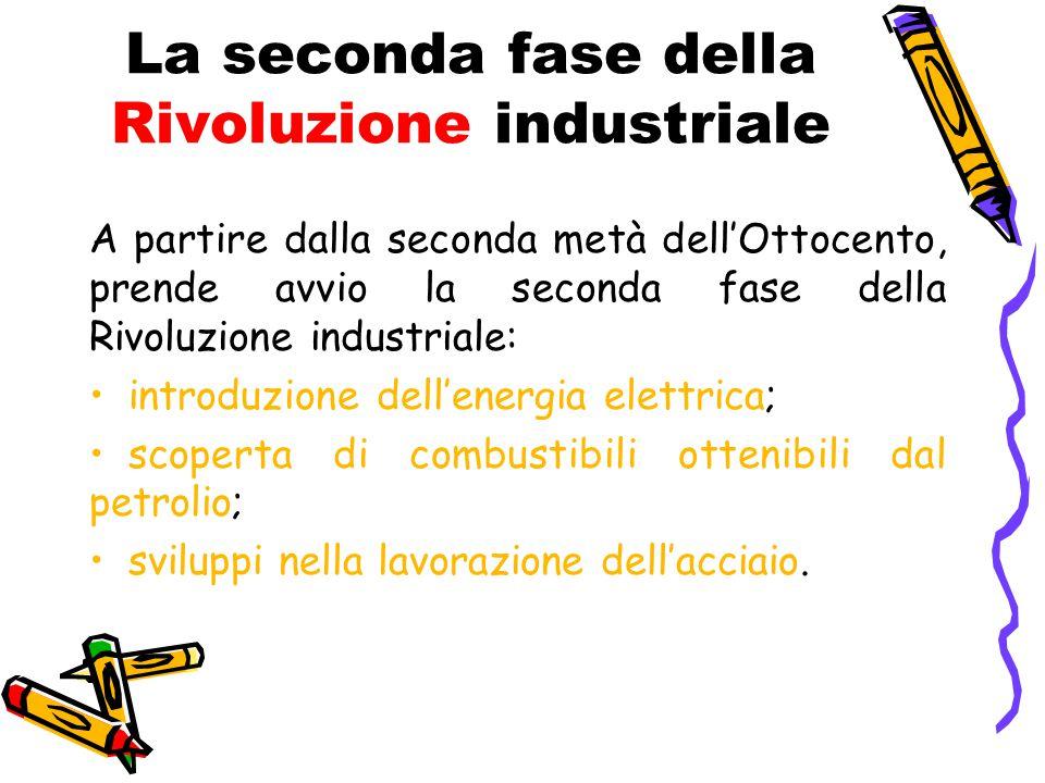 La seconda fase della Rivoluzione industriale A partire dalla seconda metà dell'Ottocento, prende avvio la seconda fase della Rivoluzione industriale: