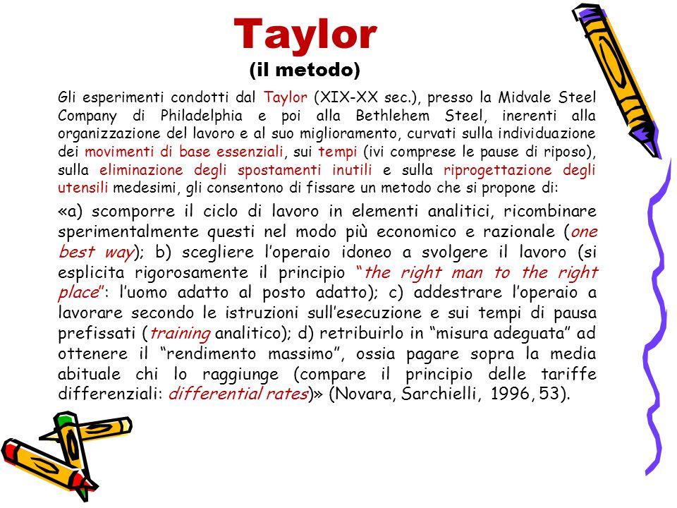 Taylor (il metodo) Gli esperimenti condotti dal Taylor (XIX-XX sec.), presso la Midvale Steel Company di Philadelphia e poi alla Bethlehem Steel, iner
