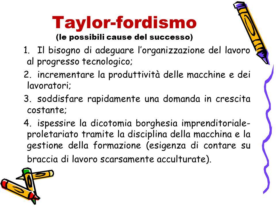 Taylor-fordismo (le possibili cause del successo) 1.Il bisogno di adeguare l'organizzazione del lavoro al progresso tecnologico; 2.incrementare la pro