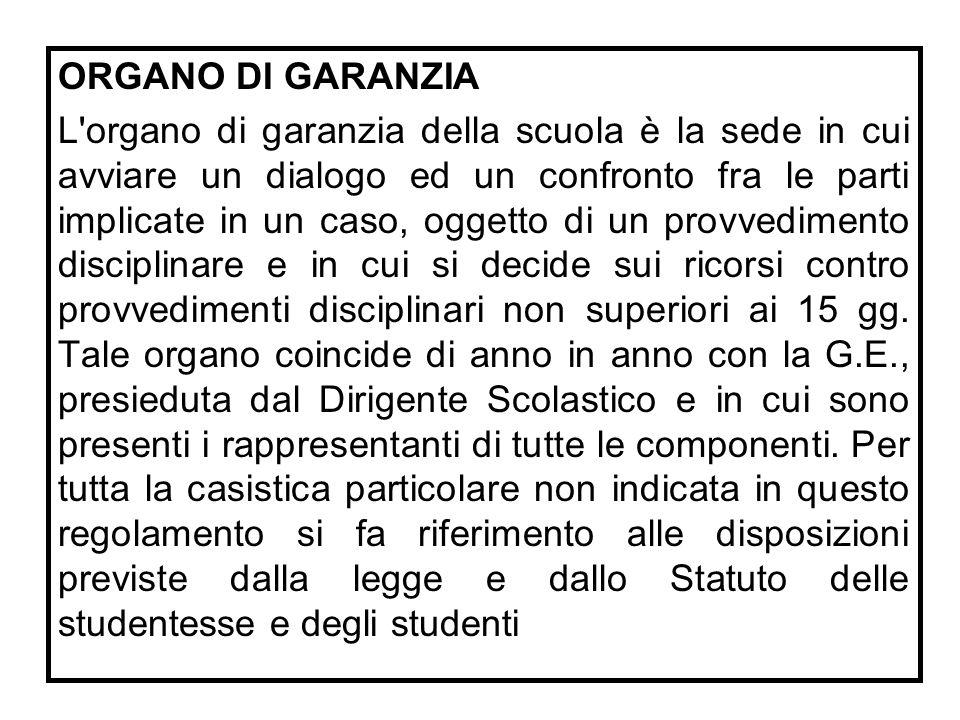 ORGANO DI GARANZIA L'organo di garanzia della scuola è la sede in cui avviare un dialogo ed un confronto fra le parti implicate in un caso, oggetto di