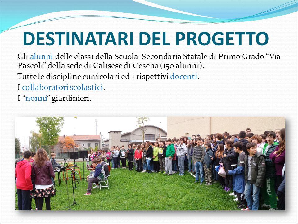 DESTINATARI DEL PROGETTO Gli alunni delle classi della Scuola Secondaria Statale di Primo Grado Via Pascoli della sede di Calisese di Cesena (150 alunni).