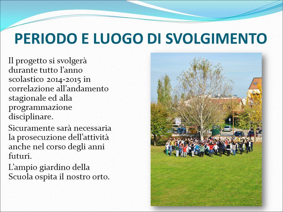 PERIODO E LUOGO DI SVOLGIMENTO Il progetto si svolgerà durante tutto l'anno scolastico 2014-2015 in correlazione all'andamento stagionale ed alla programmazione disciplinare.