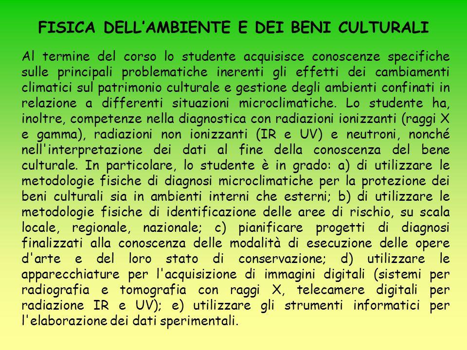 Testi consigliati (I modulo): Elementi di archeometria – Metodi fisici per i Beni Culturali , a cura di A.
