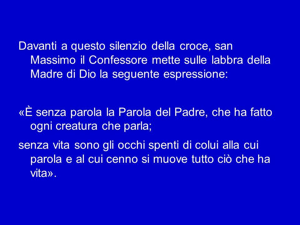 Nell Esortazione apostolica postsinodale Verbum Domini, avevo fatto riferimento al ruolo che il silenzio assume nella vita di Gesù, soprattutto sul Golgota: «Qui siamo posti di fronte alla Parola della croce (1 Cor 1,18).