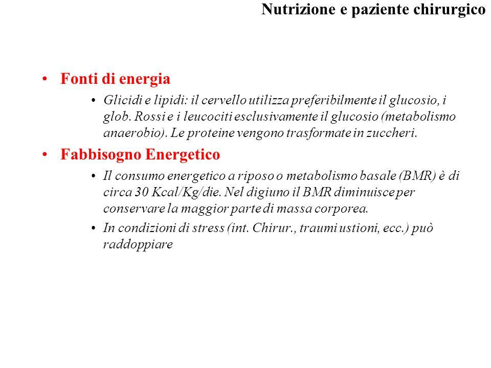 Nutrizione e paziente chirurgico Fabbisogno Proteico –è molto basso in quanto le molecole hanno compiti specifici che non sono quelli energetici.