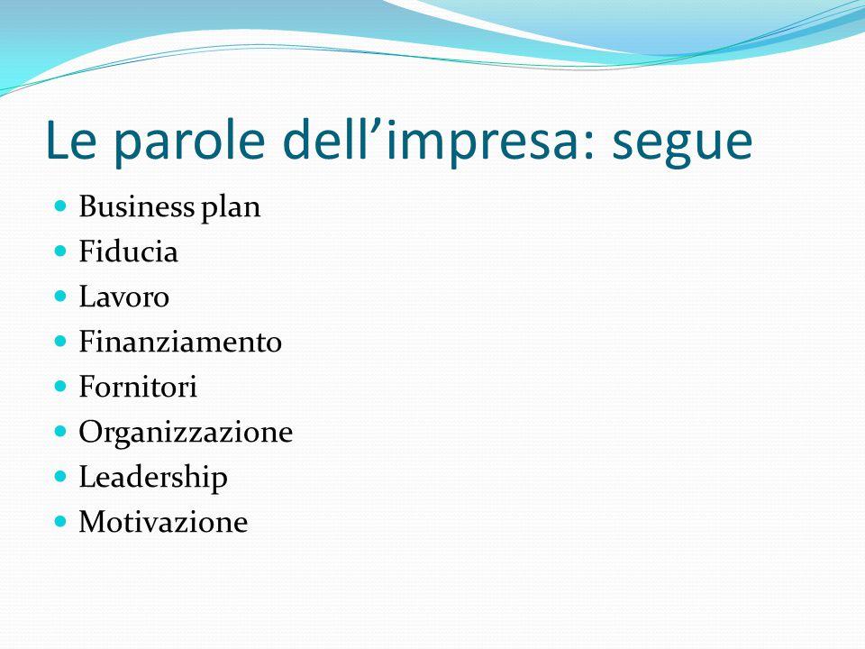 Le parole dell'impresa: segue Business plan Fiducia Lavoro Finanziamento Fornitori Organizzazione Leadership Motivazione