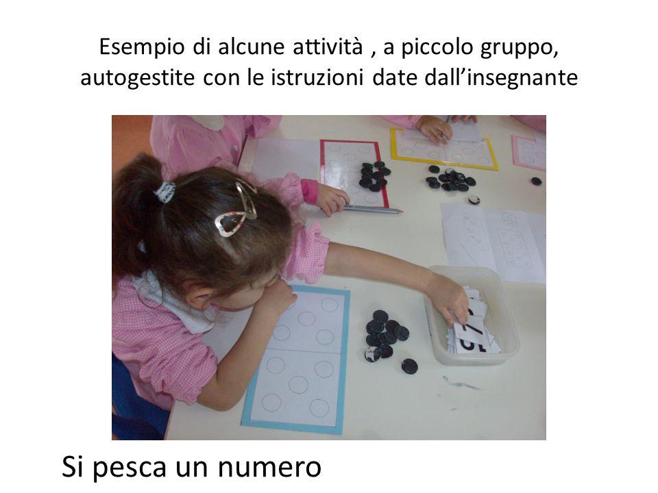 Esempio di alcune attività, a piccolo gruppo, autogestite con le istruzioni date dall'insegnante Si pesca un numero