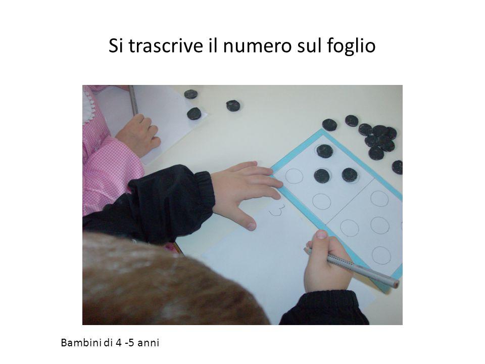 Si trascrive il numero sul foglio Bambini di 4 -5 anni