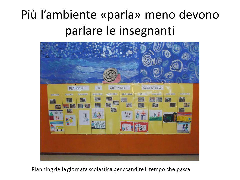 Più l'ambiente «parla» meno devono parlare le insegnanti Planning della giornata scolastica per scandire il tempo che passa