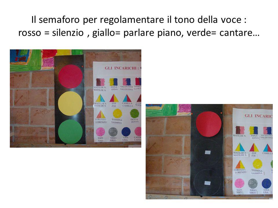 Il semaforo per regolamentare il tono della voce : rosso = silenzio, giallo= parlare piano, verde= cantare…