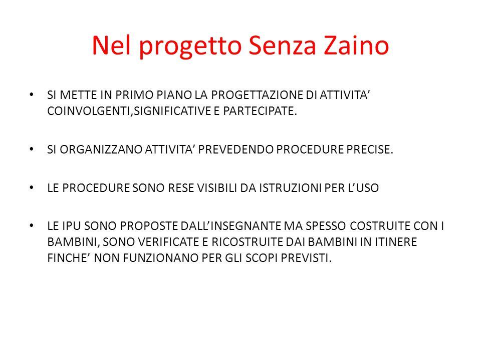 Nel progetto Senza Zaino SI METTE IN PRIMO PIANO LA PROGETTAZIONE DI ATTIVITA' COINVOLGENTI,SIGNIFICATIVE E PARTECIPATE. SI ORGANIZZANO ATTIVITA' PREV