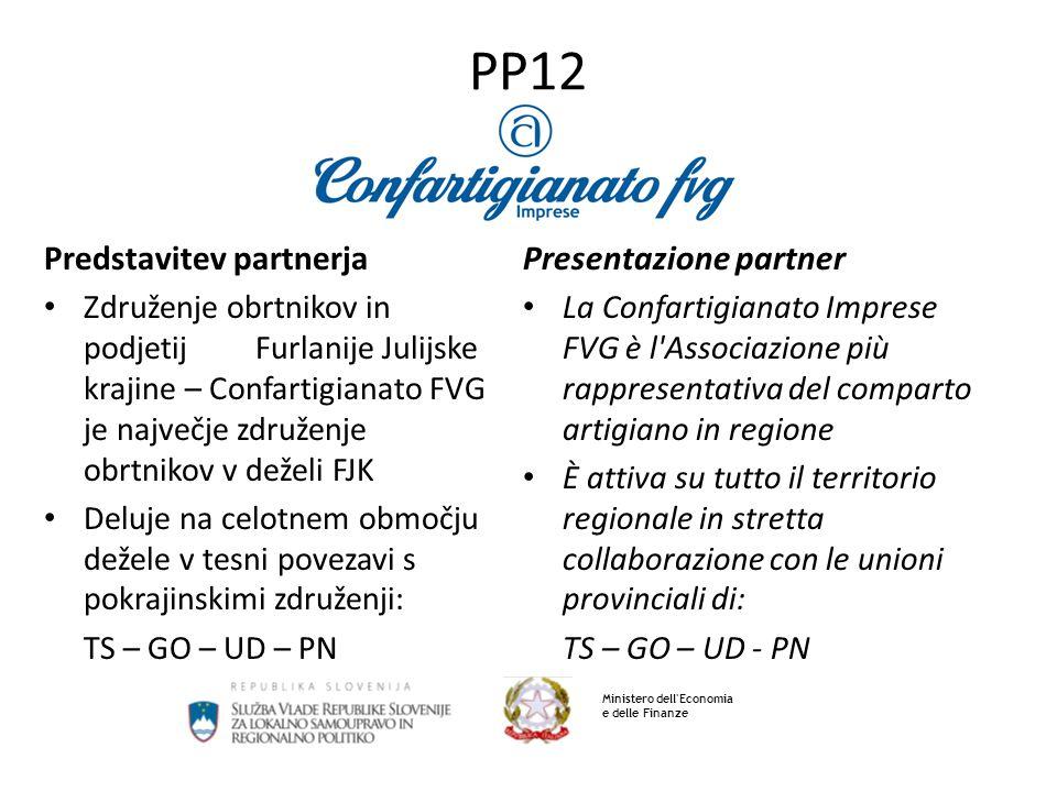PP12 Predstavitev partnerja Združenje obrtnikov in podjetij Furlanije Julijske krajine – Confartigianato FVG je največje združenje obrtnikov v deželi