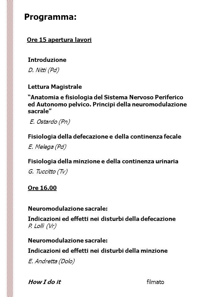 Programma: Ore 15 apertura lavori Introduzione D.