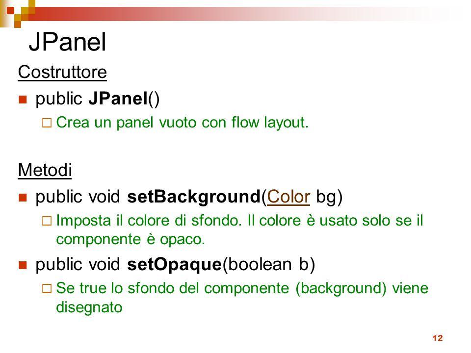 12 JPanel Costruttore public JPanel()  Crea un panel vuoto con flow layout.