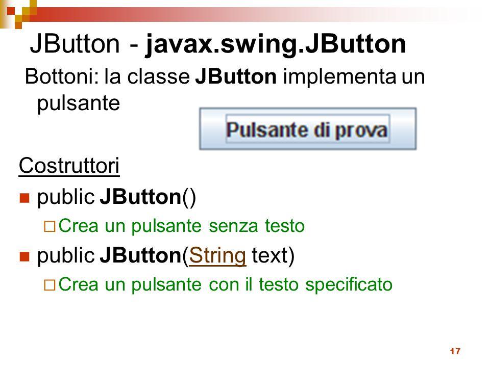 17 JButton - javax.swing.JButton Bottoni: la classe JButton implementa un pulsante Costruttori public JButton()  Crea un pulsante senza testo public JButton(String text)String  Crea un pulsante con il testo specificato