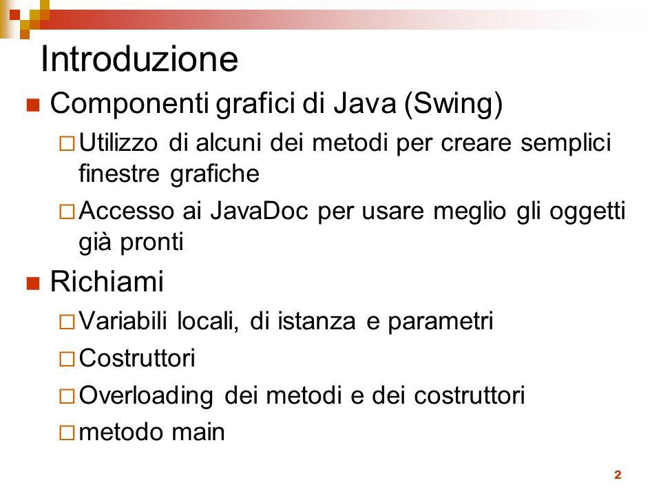2 Introduzione Componenti grafici di Java (Swing)  Utilizzo di alcuni dei metodi per creare semplici finestre grafiche  Accesso ai JavaDoc per usare meglio gli oggetti già pronti Richiami  Variabili locali, di istanza e parametri  Costruttori  Overloading dei metodi e dei costruttori  metodo main