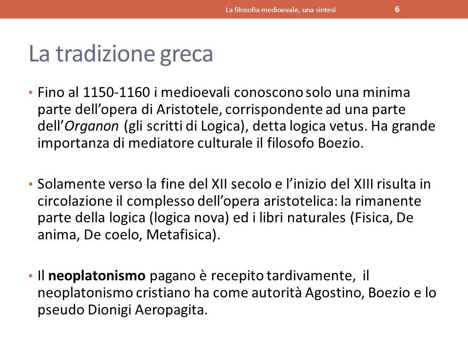 La tradizione greca Fino al 1150-1160 i medioevali conoscono solo una minima parte dell'opera di Aristotele, corrispondente ad una parte dell'Organon
