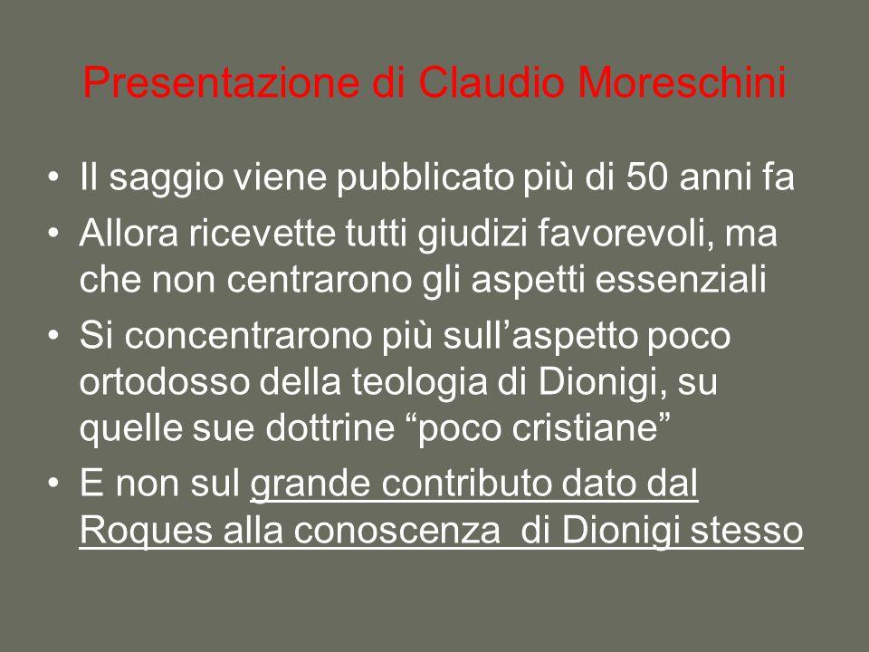 Presentazione di Claudio Moreschini Il saggio viene pubblicato più di 50 anni fa Allora ricevette tutti giudizi favorevoli, ma che non centrarono gli