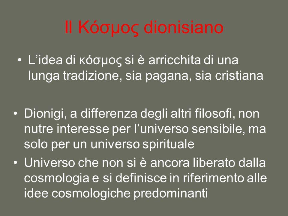 Il Κόσμος dionisiano L'idea di κόσμος si è arricchita di una lunga tradizione, sia pagana, sia cristiana Dionigi, a differenza degli altri filosofi, n