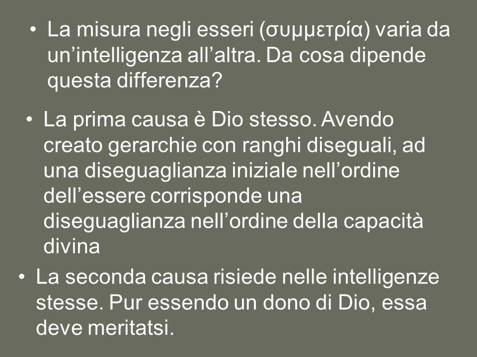 La misura negli esseri (συμμετρία) varia da un'intelligenza all'altra. Da cosa dipende questa differenza? La prima causa è Dio stesso. Avendo creato g