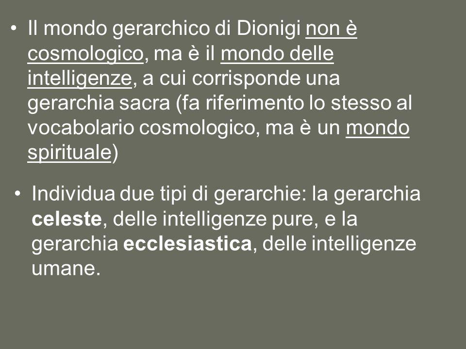 Il mondo gerarchico di Dionigi non è cosmologico, ma è il mondo delle intelligenze, a cui corrisponde una gerarchia sacra (fa riferimento lo stesso al vocabolario cosmologico, ma è un mondo spirituale) Individua due tipi di gerarchie: la gerarchia celeste, delle intelligenze pure, e la gerarchia ecclesiastica, delle intelligenze umane.