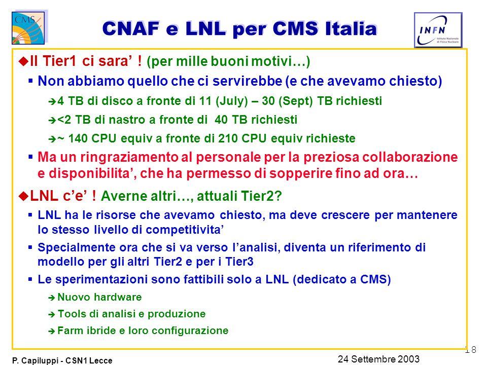 18 P. Capiluppi - CSN1 Lecce 24 Settembre 2003 CNAF e LNL per CMS Italia u Il Tier1 ci sara' .