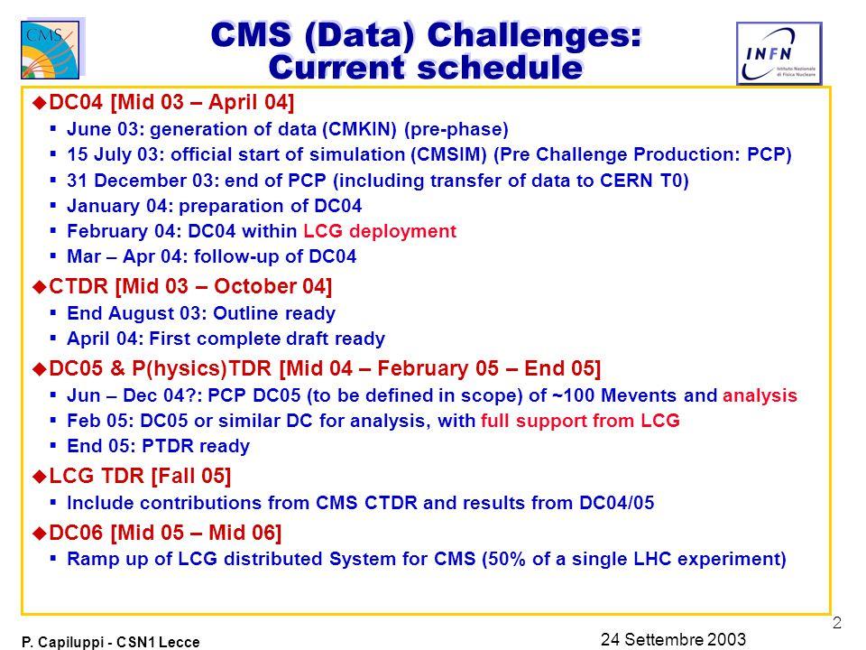2 P. Capiluppi - CSN1 Lecce 24 Settembre 2003 CMS (Data) Challenges: Current schedule u DC04 [Mid 03 – April 04]  June 03: generation of data (CMKIN)