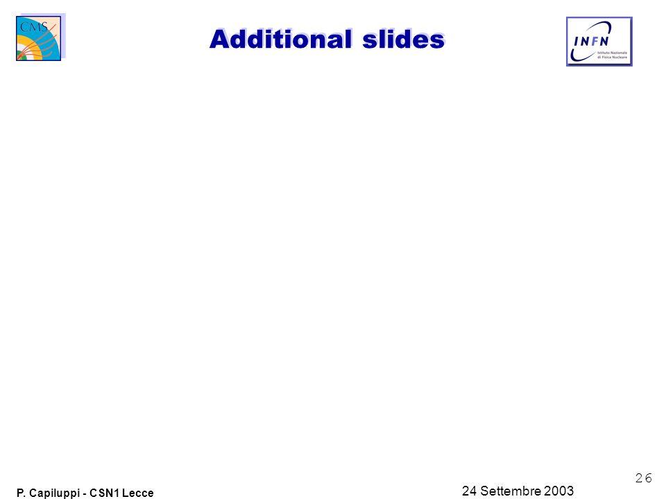 26 P. Capiluppi - CSN1 Lecce 24 Settembre 2003 Additional slides